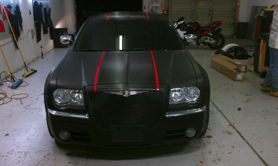 chrysler red and black car wrap