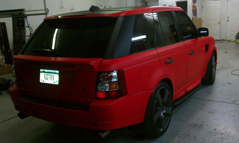Range Rover Red & Black Wrap rear