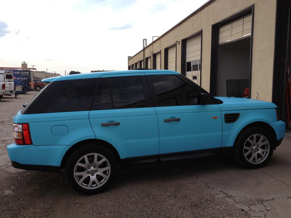 Baby blue range rover side