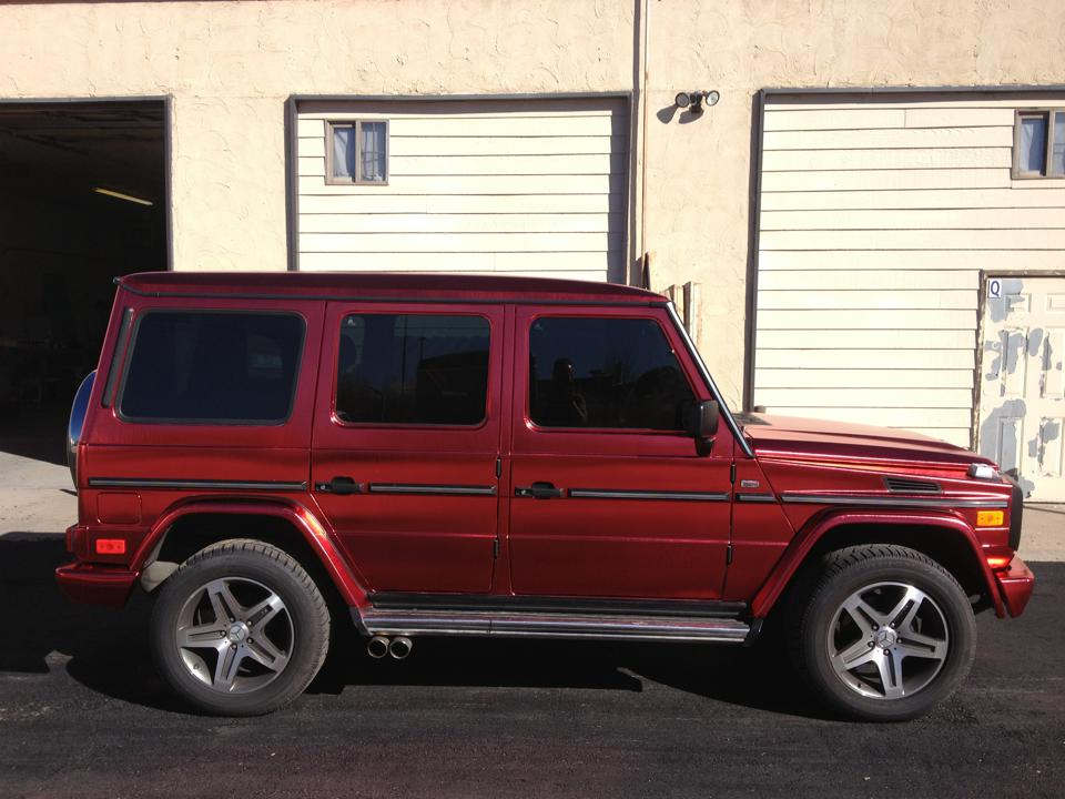 Metallic Red mercedes side