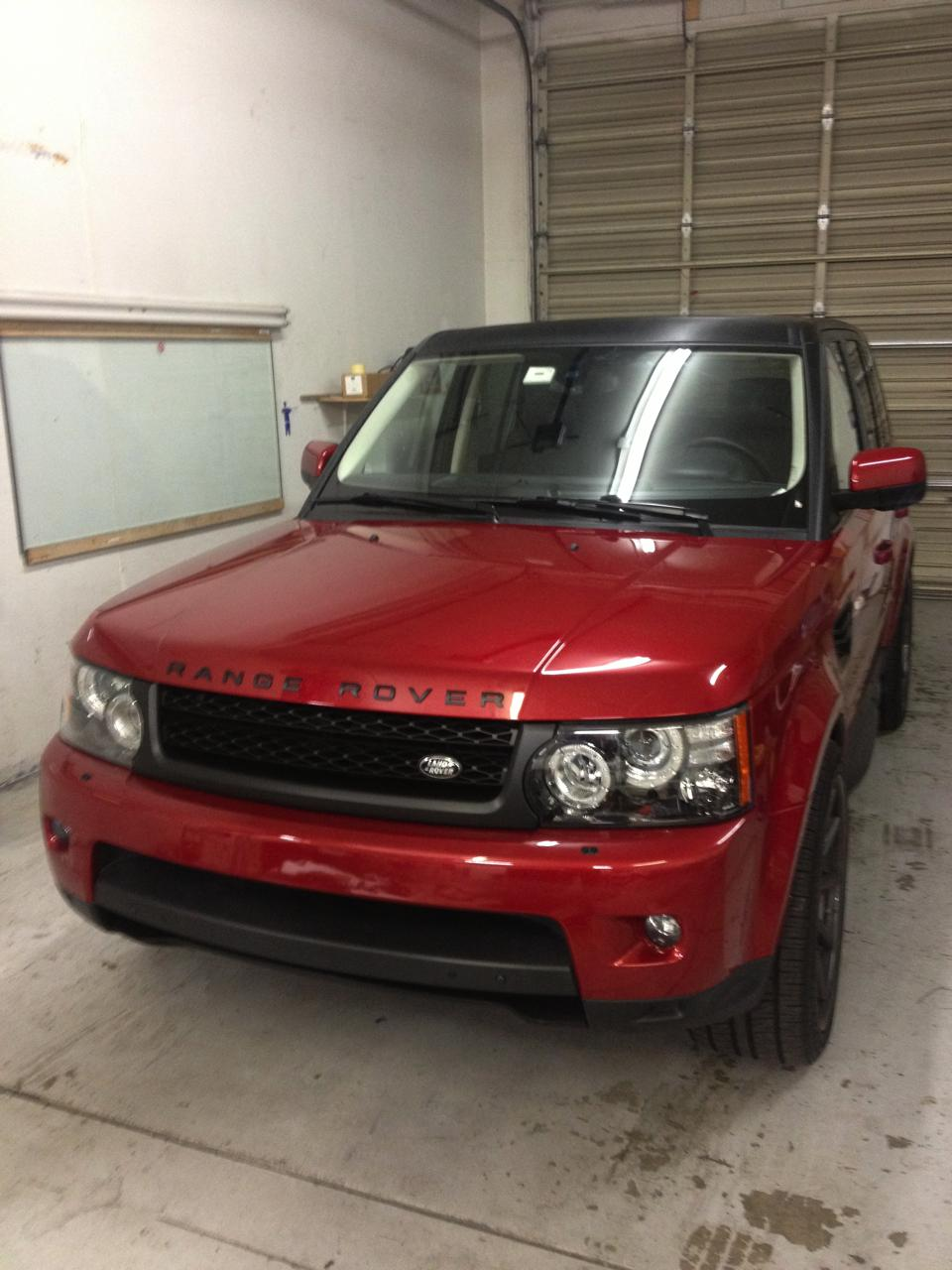 Red range rover car wrap