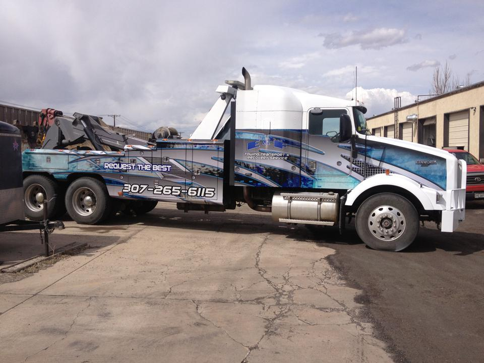 Tow truck blue