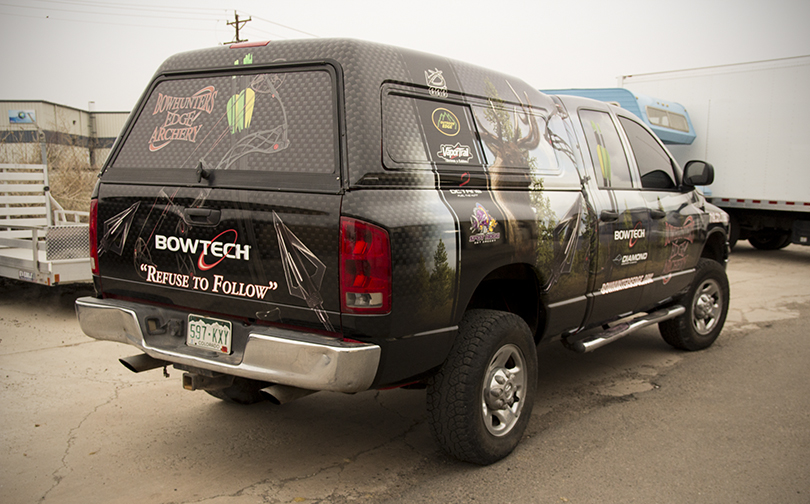 Big Dog Vehicle Wraps  Window Graphics Denver Custom Banners - Bowtech custom vinyl decals for trucks