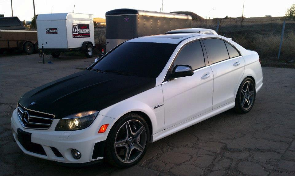 Custom car wrap white & black