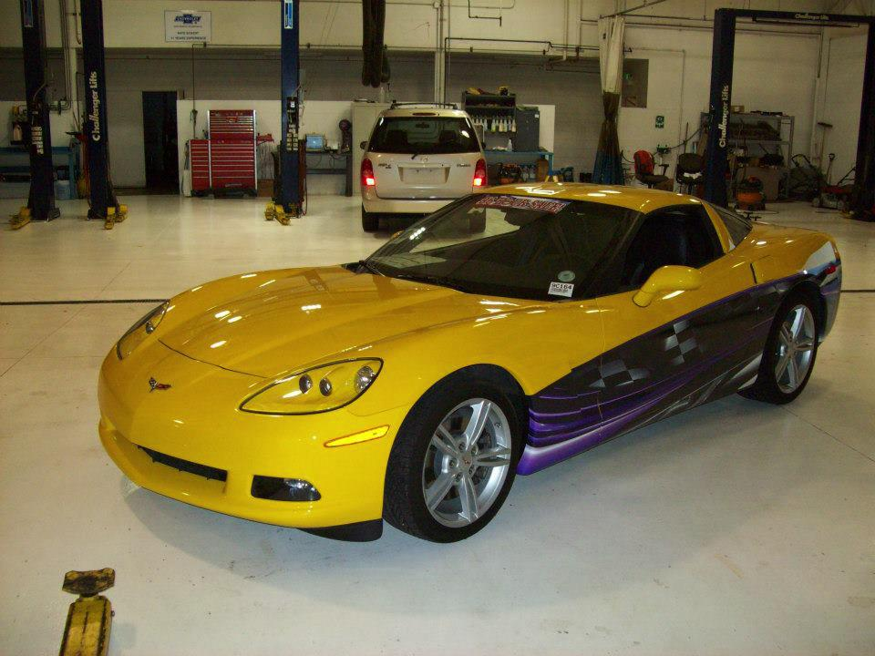 yellow and purple corvette wrap