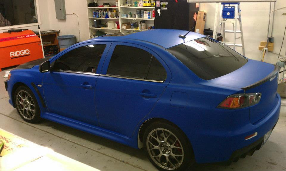 blue Mazda car wrap side