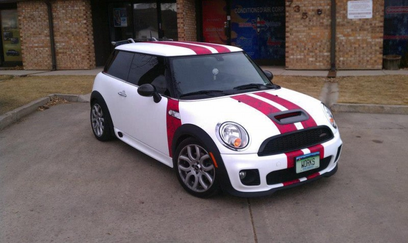 White & red mini car wrap side