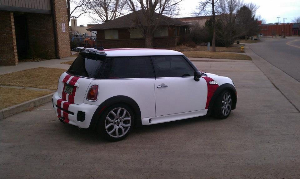 White & red mini car wrap rear