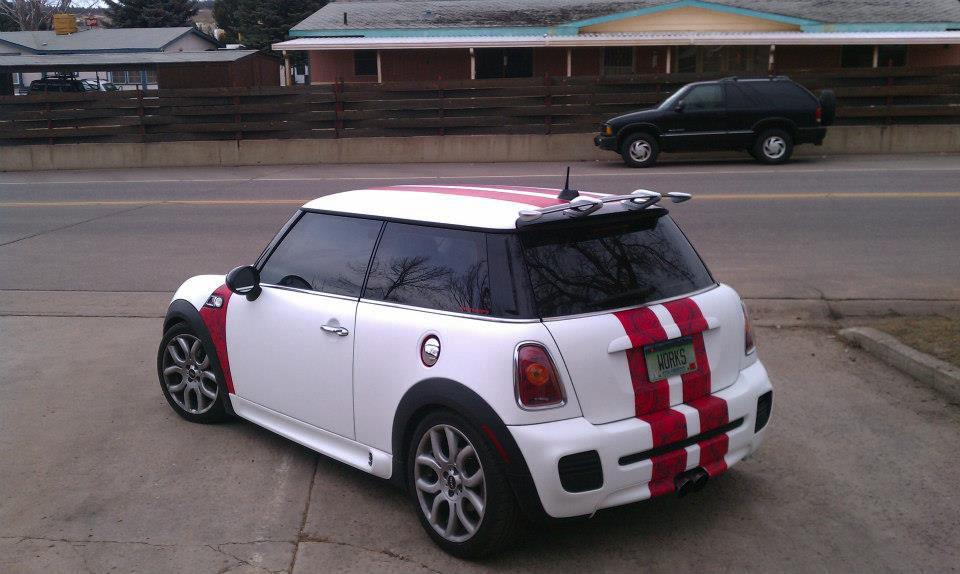 red stripe mini car wrap