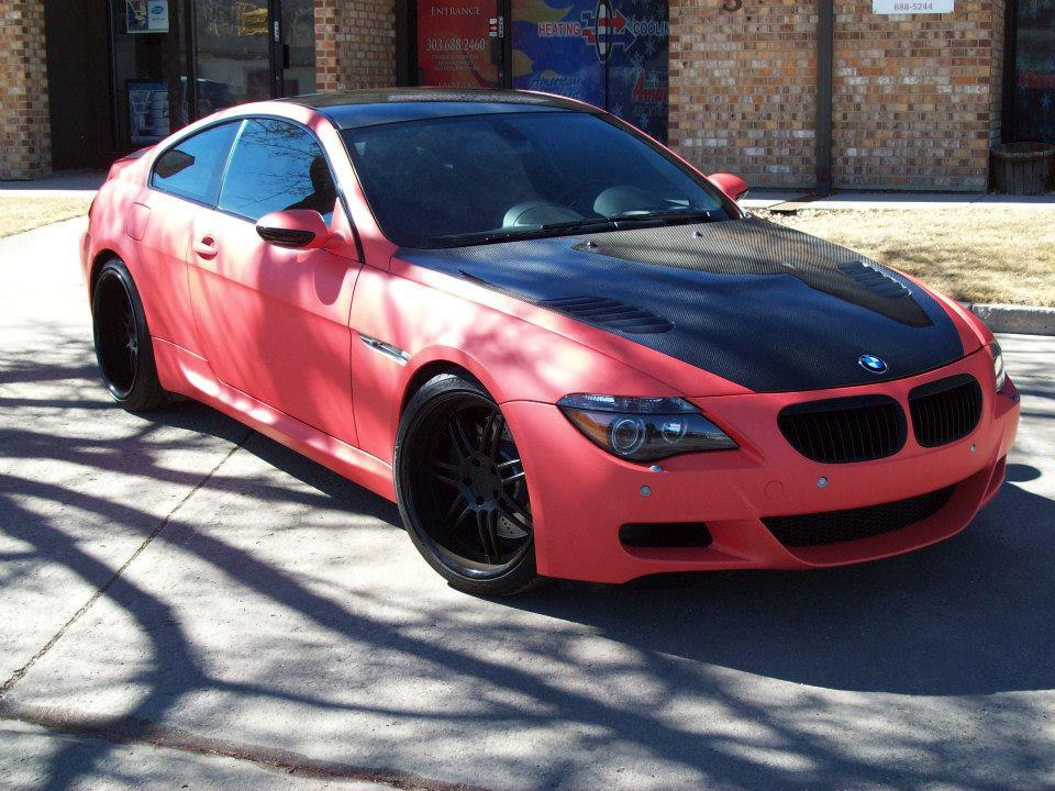 bmw orange & black car wrap outside