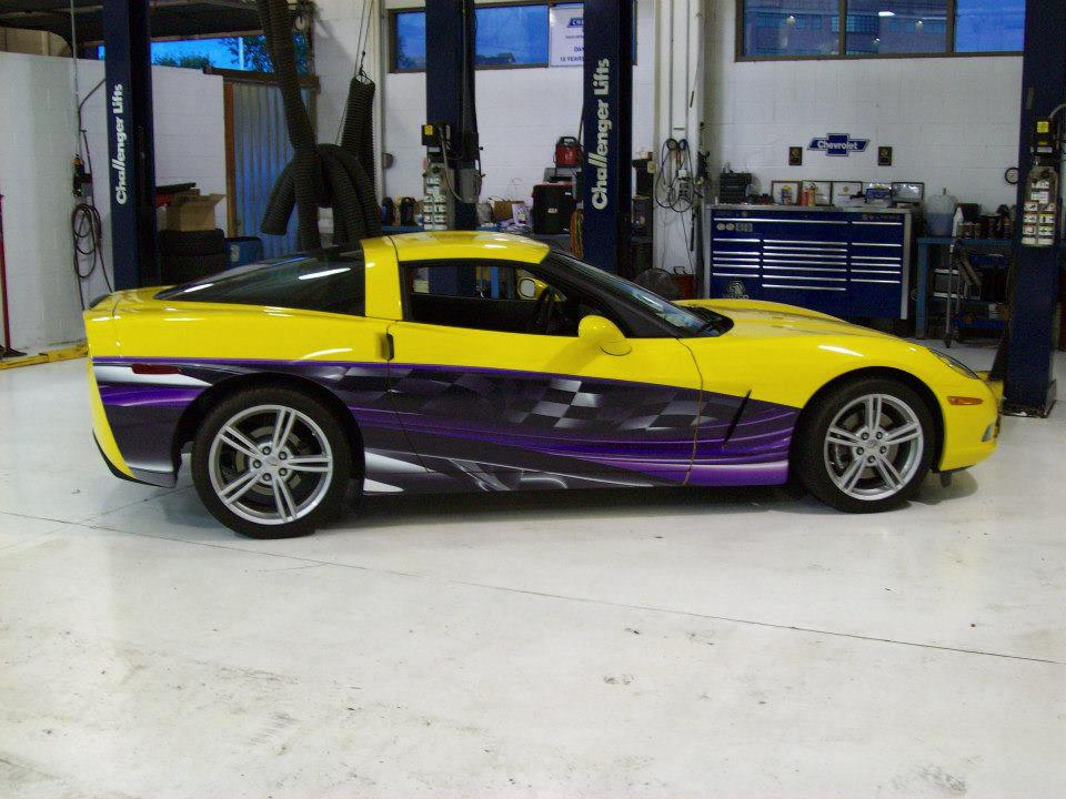 Yellow & Purple Corvette wrap.