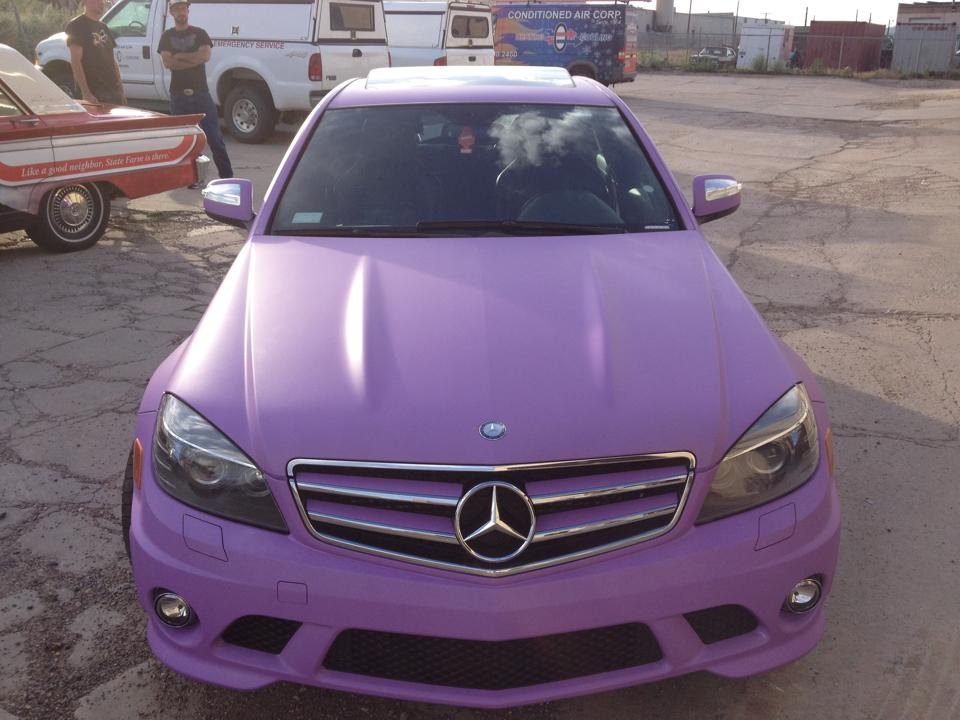 light purple mercedes front