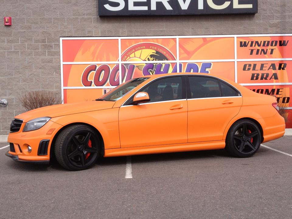 orange mercedes wrap