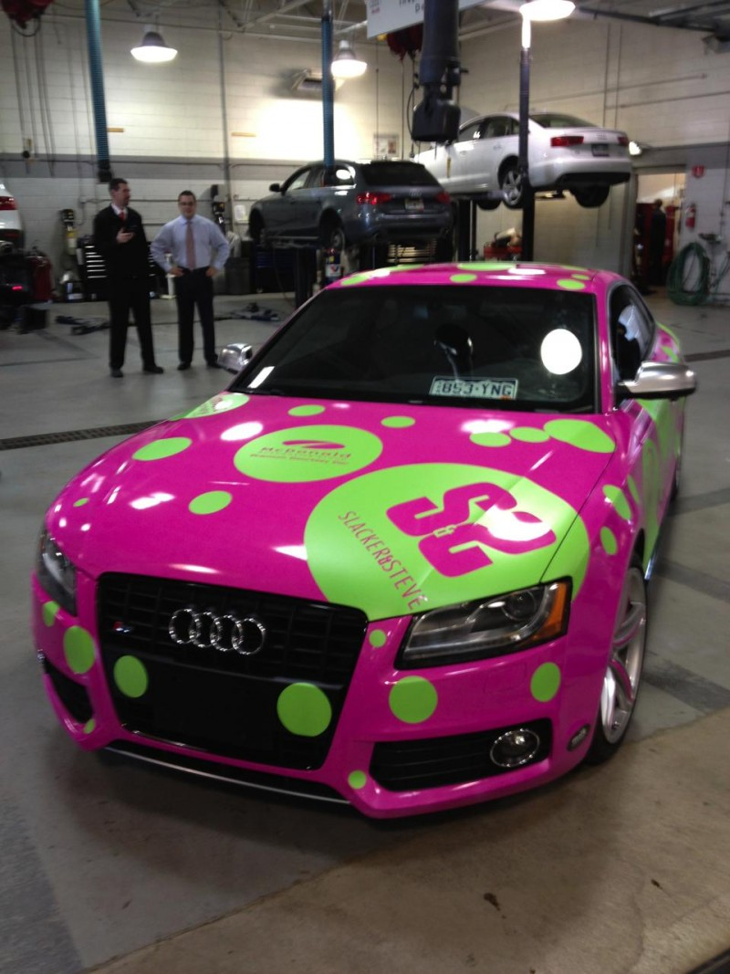 buying, leasing, or customizing? Pink and green audi wrap