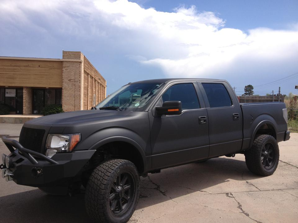 flat black ford Truck side
