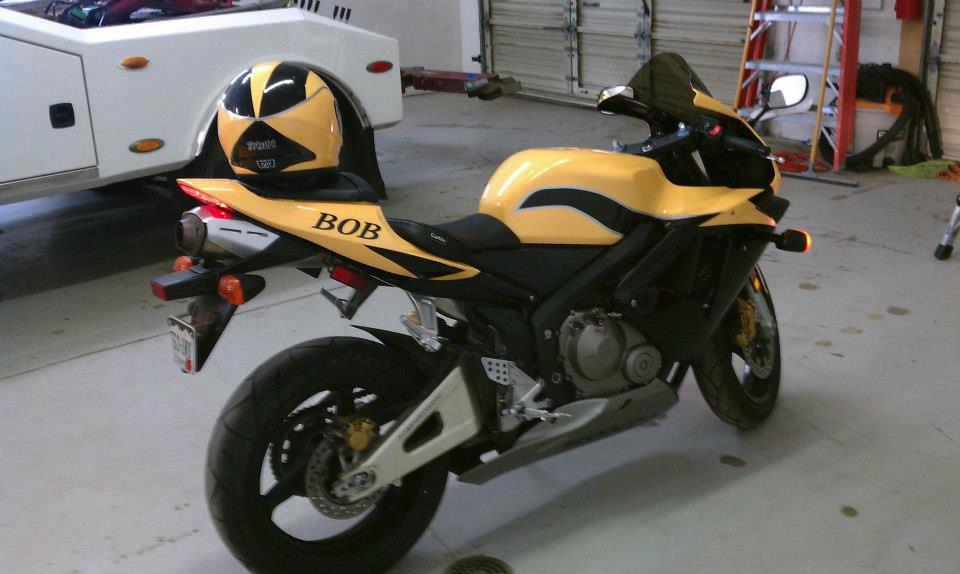 yellow motorcycle wrap