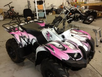 White purple atv wrap side