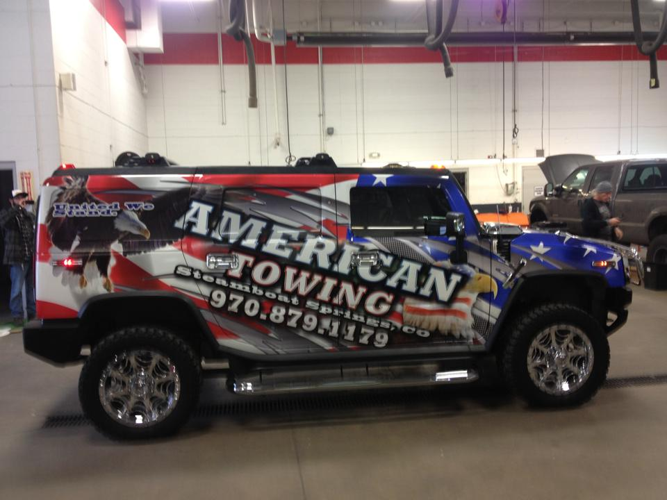 Hummer wrap American Towing Side