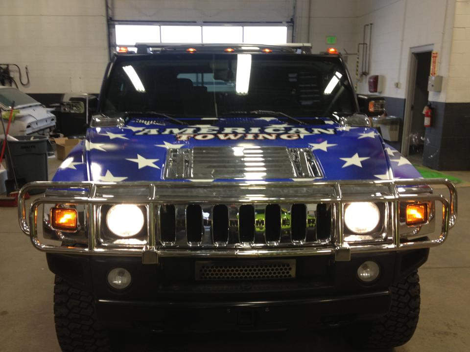 Hummer wrap American Towing front