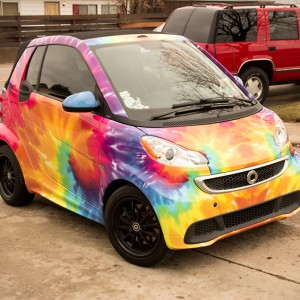tie dye smart car wrap