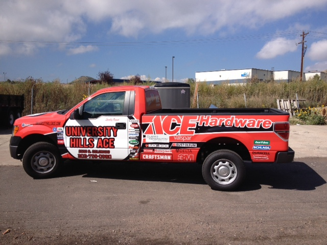 Red truck wrap after side view