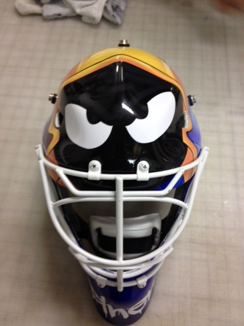 custom wrap goalie helmet front view