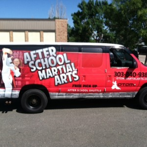 after white van wrap side view after school martial arts